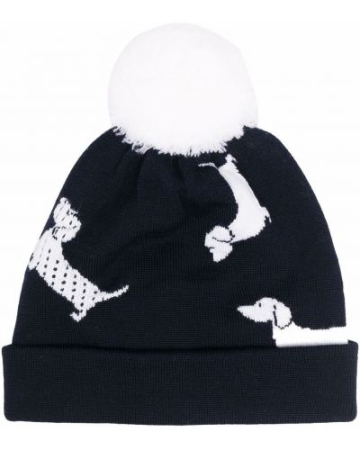 Белая шерстяная шапка бини Thom Browne