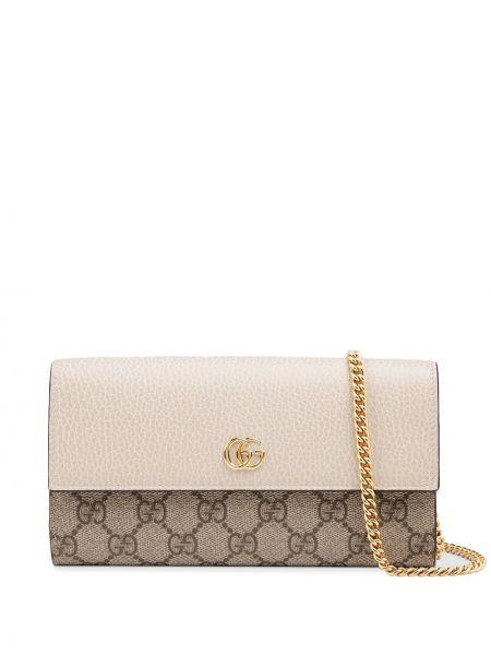 Skórzany portfel złoto z kieszeniami Gucci