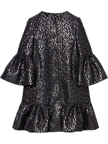 С рукавами черное платье мини трапеция Carolina Herrera
