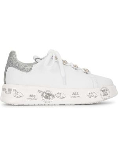Белые кроссовки на платформе на шнуровке с заплатками на танкетке Premiata