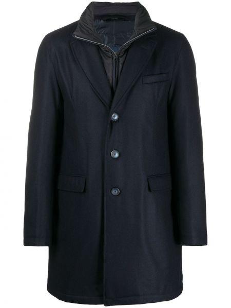 Niebieski jednorzędowy wełniany długi płaszcz z długimi rękawami Herno