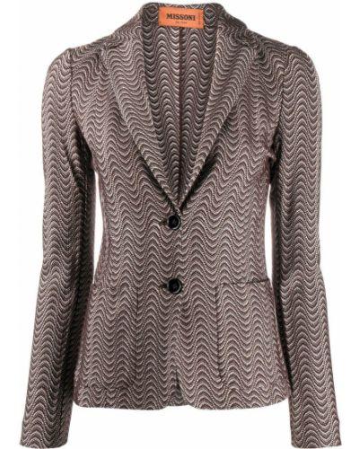 Вязаный шерстяной коричневый удлиненный пиджак Missoni