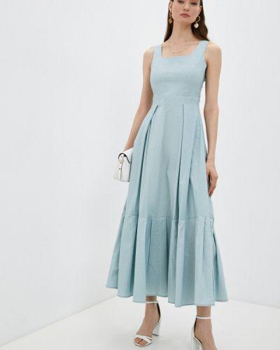 Бирюзовое прямое платье А-силуэта Trendyangel