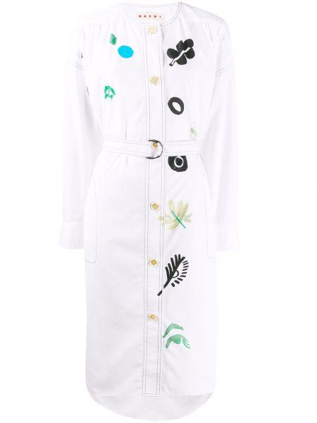 Платье миди на пуговицах с цветочным принтом Marni
