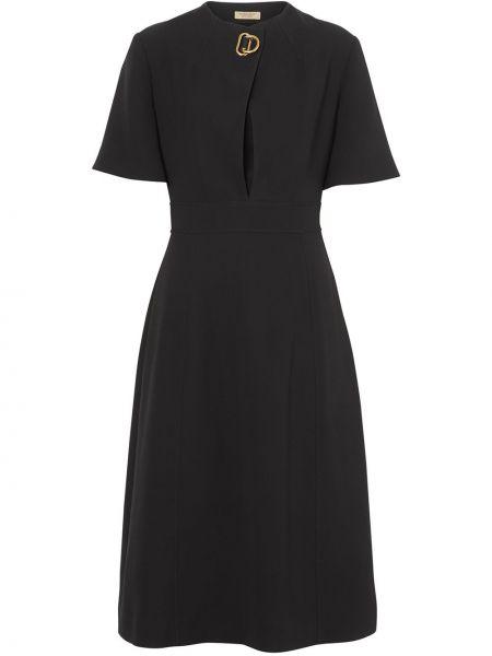 Шелковое черное приталенное платье мини с вырезом Burberry
