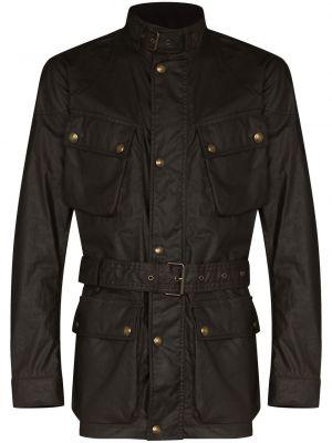 Brązowa długa kurtka sztruksowa z długimi rękawami Belstaff