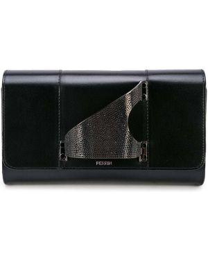 Кожаная черная кожаная сумка прямоугольная с карманами Perrin Paris