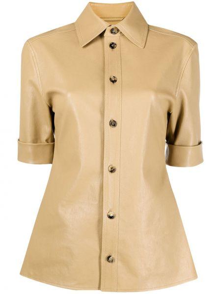 Кожаная с рукавами классическая рубашка с воротником Bottega Veneta