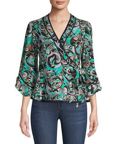Шелковая блузка с V-образным вырезом с драпировкой Nanette Lepore