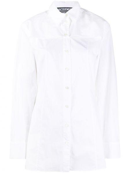 Хлопковая с рукавами белая классическая рубашка Jacquemus