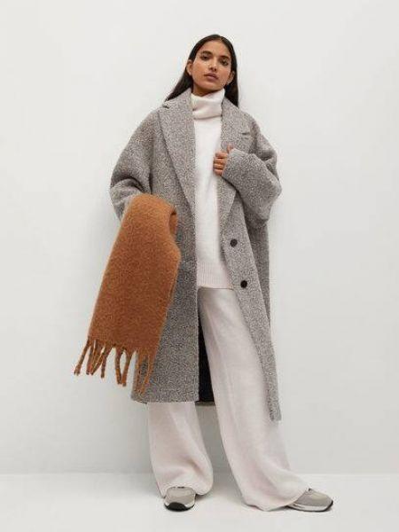 Бежевое шерстяное длинное пальто с воротником Mango