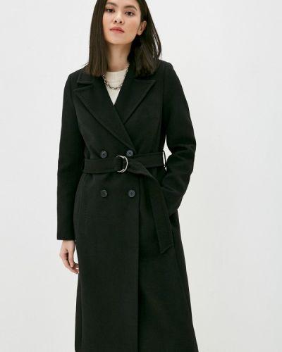 Черное пальто двубортное снежная королева