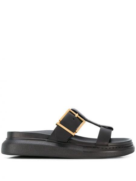 Кожаные черные шлепанцы с открытым носком без застежки Alexander Mcqueen