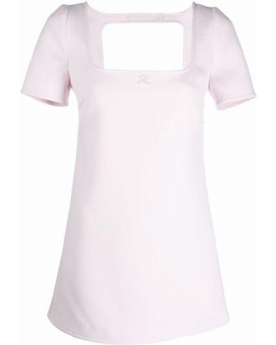Платье мини с открытой спиной - розовое Courrèges