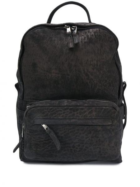 Czarny plecak skórzany z printem Giorgio Brato