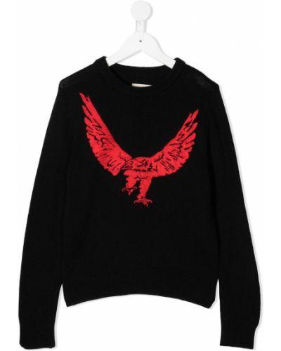 Кашемировый черный свитер с вышивкой с круглым вырезом Zadig & Voltaire Kids