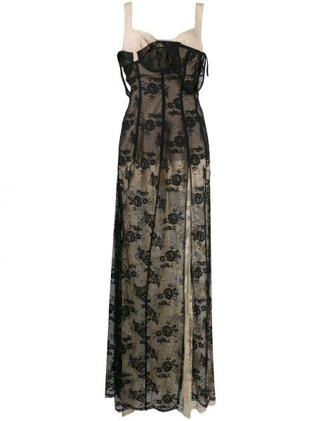 Кружевное платье макси - черное Natasha Zinko