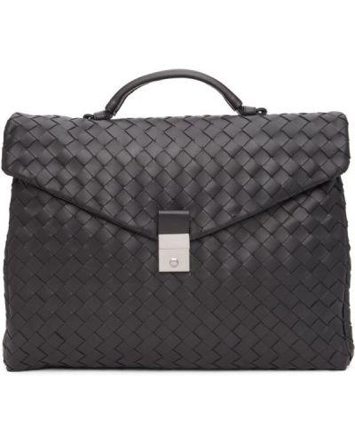 Черный портфель с карманами с тиснением Bottega Veneta