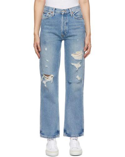 Белые свободные джинсы с высокой посадкой стрейч с заплатками Re/done