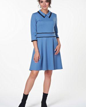 Платье с поясом со вставками с отложным воротником Valentina