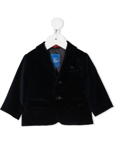 Синий однобортный пиджак с карманами на пуговицах Fay Kids
