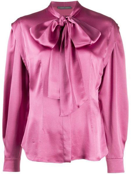С рукавами шелковая розовая блузка с длинным рукавом Alberta Ferretti