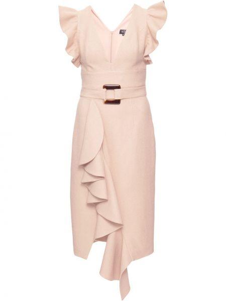 Розовое платье миди с V-образным вырезом с оборками без рукавов Patbo
