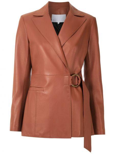 Коричневый кожаный пиджак Nk