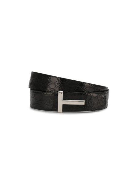 Мягкий кожаный черный ремень с пряжкой Tom Ford