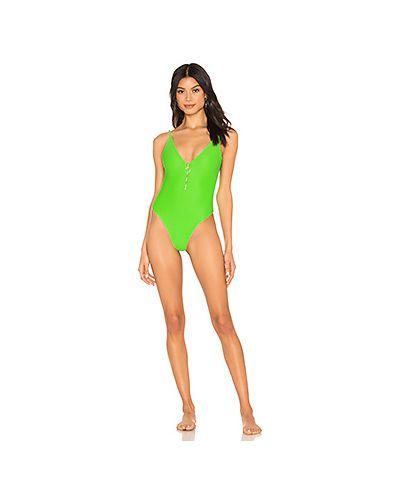 Слитный купальник с молнией зеленый Lovers + Friends