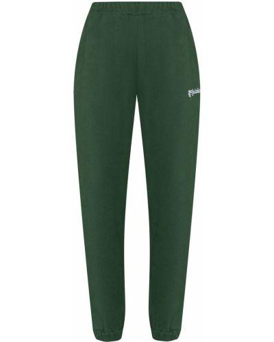 Zielone spodnie bawełniane z haftem Danielle Guizio