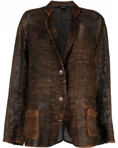 Вязаный коричневый удлиненный пиджак на пуговицах Avant Toi
