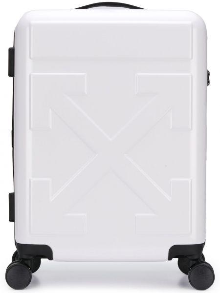 Белый чемодан на молнии с карманами Off-white