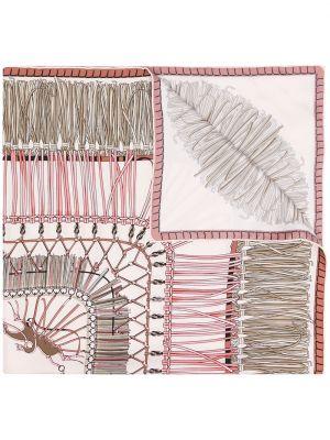 Розовый шелковый платок квадратный Longchamp