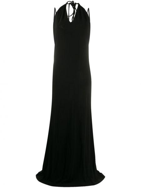 Прямое черное платье макси с вырезом Dsquared2