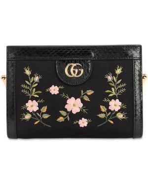 Satynowa czarna torebka na łańcuszku z haftem Gucci