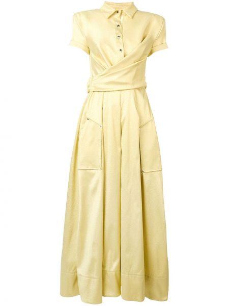 Классическое платье мини с запахом на пуговицах с разрезами по бокам Talbot Runhof