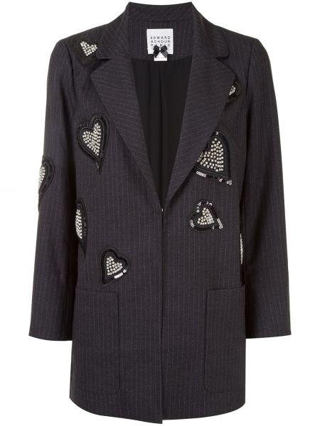 Черный удлиненный пиджак с нашивками из вискозы Edward Achour Paris