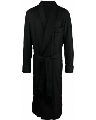 Czarny długi szlafrok z wiskozy z długimi rękawami Tom Ford