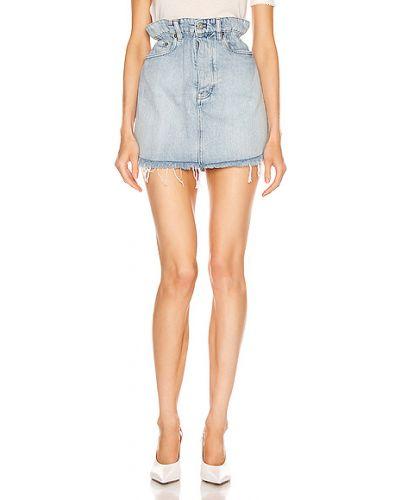 Хлопковая синяя юбка мини с карманами Miu Miu