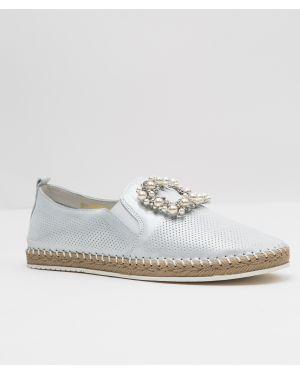 Кожаные туфли - серебряные Oeego