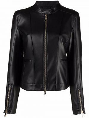 Черная куртка байкерская на молнии с воротником-стойка Patrizia Pepe