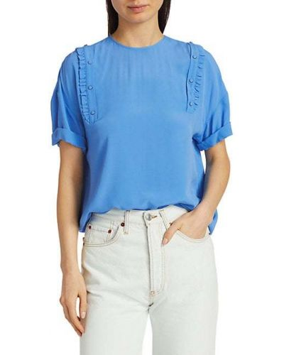 Шелковая блузка с короткими рукавами на кнопках No. 21
