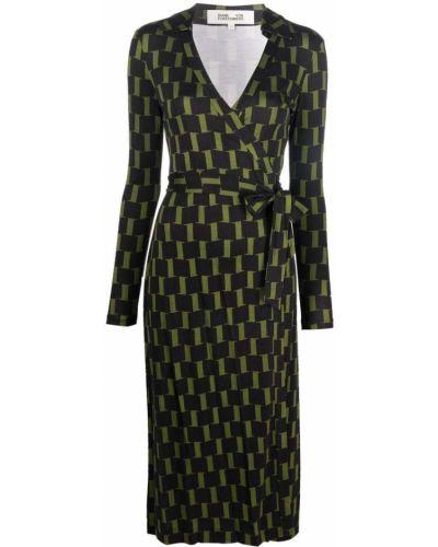 Czarna sukienka z printem Dvf Diane Von Furstenberg