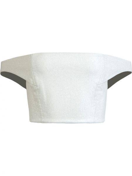 Хлопковый ватный приталенный белый кроп-топ Michelle Mason