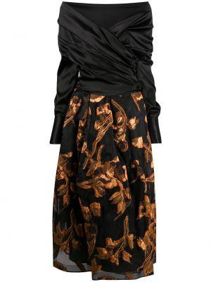 Шелковое с рукавами черное платье макси Sara Roka