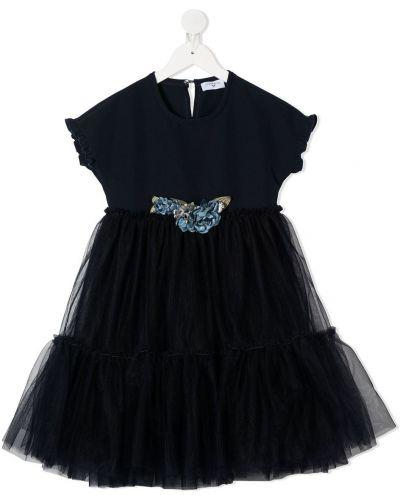 Короткое синее платье из фатина на пуговицах Monnalisa