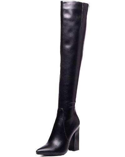 Черные кожаные ботфорты Vitacci