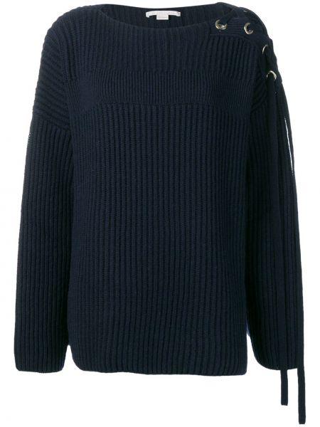 Синий шерстяной длинный свитер с вырезом Stella Mccartney