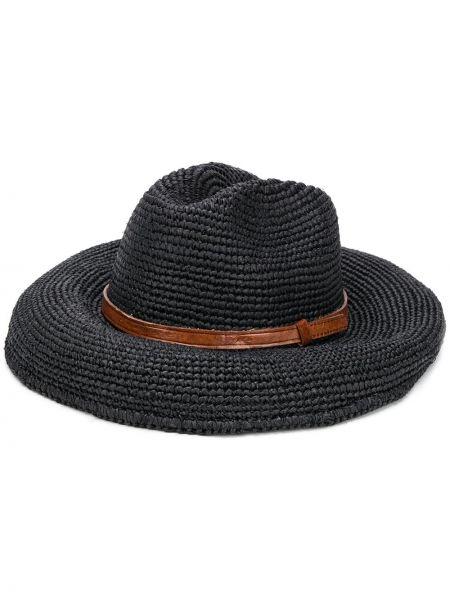 Czarny kapelusz skórzany safari Ibeliv